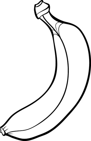 banana: Black and White Cartoon Illustration of Banana Fruit Food Object for Coloring Book