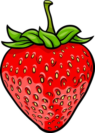 cartoon strawberry: Cartoon Illustration of Strawberry Fruit Food Object Illustration