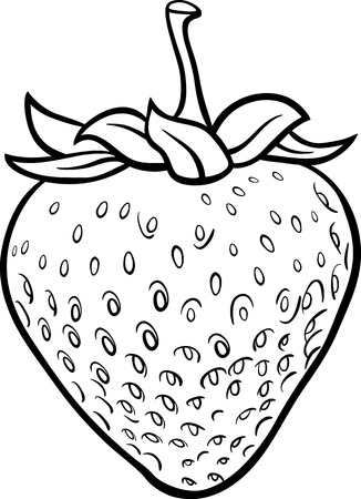 coloring book page: Black and White Cartoon Illustration of Strawberry Fruit Food Object for Coloring Book