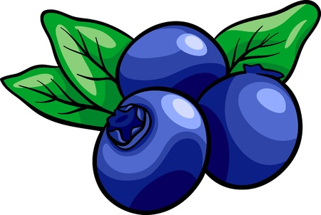 Cartoon Illustratie van Blueberry Fruit Eten Object