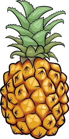 pineapples: Cartoon Illustration of Pineapple Fruit Food Object Illustration