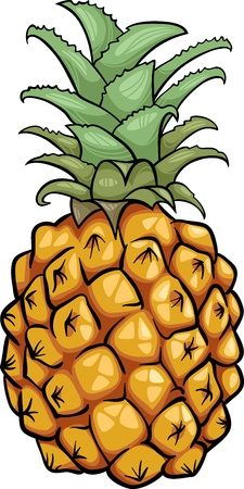 Cartoon Illustration von Ananas Obst Lebensmittel Object