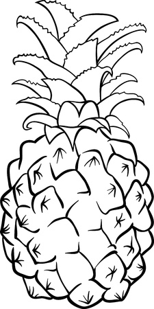 pineapples: Black and White Cartoon Illustration of Pineapple Fruit Food Object for Coloring Book Illustration