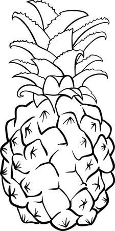 pi�as: Blanco y Negro Ilustraci�n de dibujos animados de pi�a Fruta Objeto Alimentos para Coloring Book