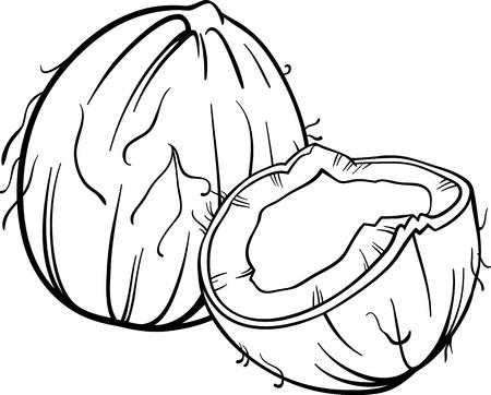ココナッツや塗り絵のココナット食品オブジェクトの黒と白の漫画イラスト