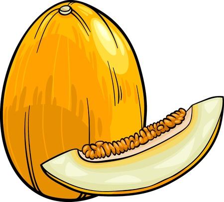 黄色のメロン果実食オブジェクトの漫画イラスト  イラスト・ベクター素材