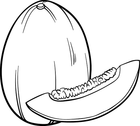 Black and White Cartoon Illustration of Melon Fruit Food Object for Coloring Book Vector