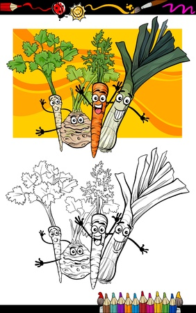 funny food: Coloring Book or Page Cartoon Illustration of Soup Vegetables Funny Food Objects Group for Children Education