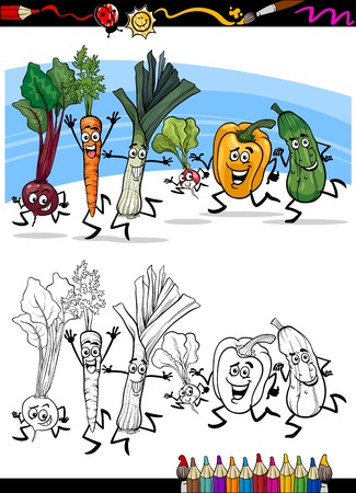 Coloring Book or Page Cartoon Illustration of Running Vegetables Funny Food Objects Group for Children Education Vector