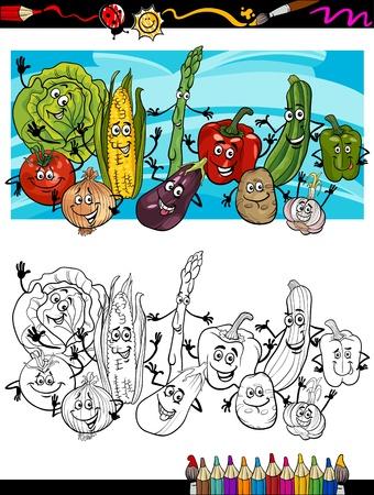 Coloring Book o página de dibujos animados de verduras Comic Comida Divertido objetos Grupo para la Educación Infantil