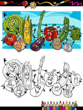 coloring book pages: Coloring Book or Page Cartoon Illustration of Comic Vegetables Funny Food Objects Group for Children Education