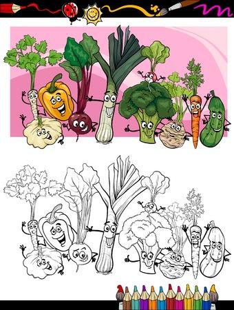 Coloring Book o página Humor ilustración de dibujos animados de verduras Comic Comida Divertido objetos Grupo para la Educación Infantil