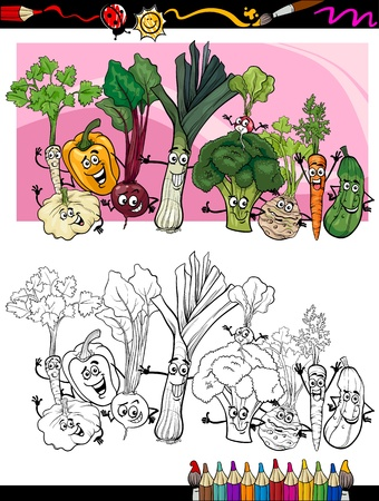 coloring book page: Coloring Book or Page Humor Cartoon Illustration of Comic Vegetables Funny Food Objects Group for Children Education Illustration