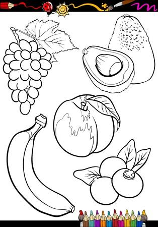 banaan cartoon: Coloring Book of Pagina Cartoon Illustratie van zwart-wit fruit voedsel objecten instellen Stock Illustratie