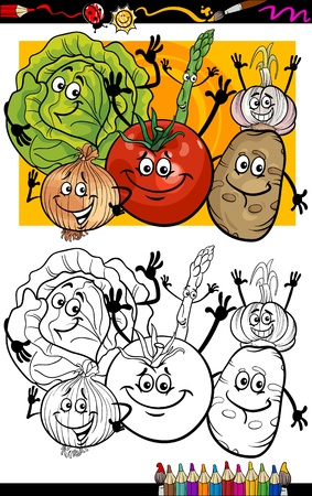 COLOURING: Coloring Book or Page Humor Cartoon Illustration of Comic Vegetables Food Objects Group for Children Education Illustration