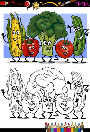 Coloring Book or Page Humor Cartoon Illustration of Vegetables Comic Food Objects Group for Children Education Vector