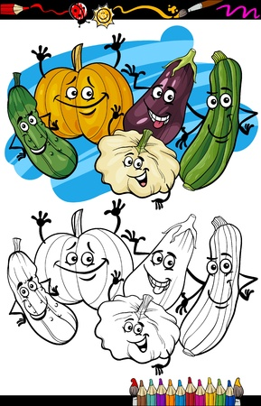 cucurbit: Coloring Book or Page Humor Cartoon Illustration of Cucurbit or Gourd Vegetables Comic Food Objects Group for Children Education