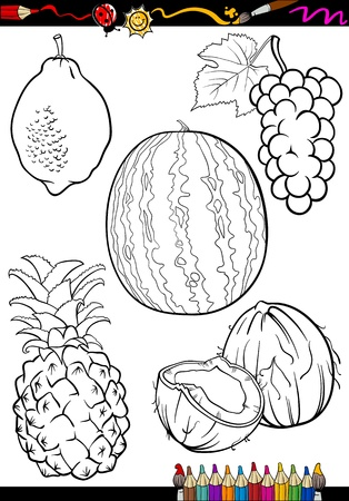 Watermelon: Coloring Book or Page Cartoon Illustration of Five Black and White Fruits Food Objects Set