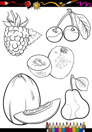 melon fruit: Coloring Book or Page Cartoon Illustration of Different Black and White Fruits Food Objects Set