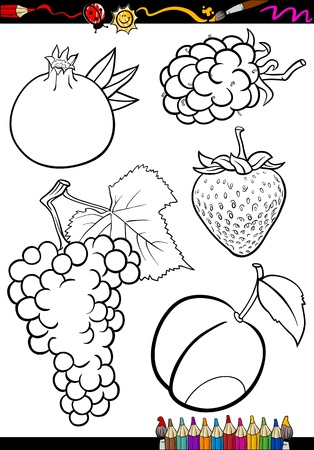layout strawberry: Coloring Book or Page Illustration of Black and White Fruits Food Objects Set