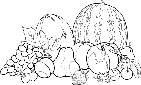 Black and White Cartoon Illustration of Fruits Group Food Design for Coloring Book Vector