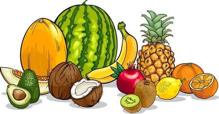 limon caricatura: Ilustración de dibujos animados de Frutas Tropical Food Design Vectores