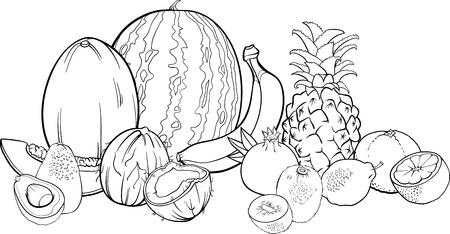 banana leaf: Black and White Cartoon Illustration of Tropical Fruits Food Design for Coloring Book