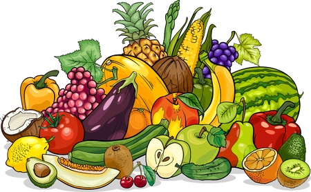 Cartoon Illustration of Fruits and Vegetables Big Group Food Design Vector