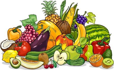 Ilustración de dibujos animados de diseño de alimentos de gran grupo de frutas y verduras Ilustración de vector