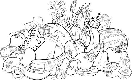 dibujos para colorear: Blanco y Negro Ilustración de dibujos animados de Frutas y Verduras Gran grupo de diseño Alimentos para Coloring Book