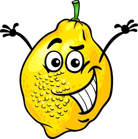 sour: Cartoon Illustration of Funny Lemon Citrus Fruit Food Comic Character