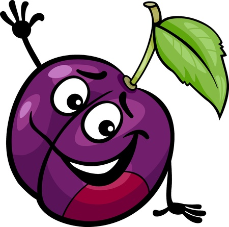 Cartoon Illustration of Funny Plum Fruit Food Comic Character  イラスト・ベクター素材