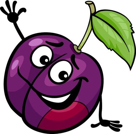 Cartoon Illustration of Funny Plum Fruit Food Comic Character Illustration