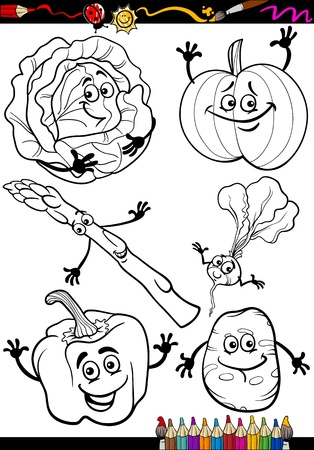 coloring book page: Coloring Book or Page Cartoon Illustration of Black and White Vegetables Food Comic Characters Set Illustration