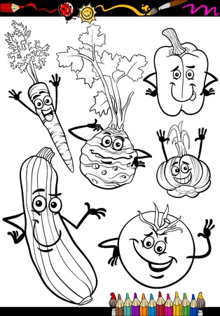 COLOURING: Coloring Book or Page Cartoon Illustration of Black and White Vegetables Food Comic Characters Set Illustration