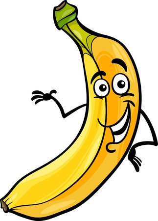fruit illustration: Cartoon Illustration of Funny Banana Fruit Food Comic Character