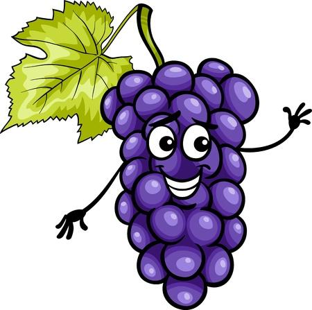 Cartoon illustratie van grappige blauw of zwart Druiven Fruit Eten Grappige Karakter Vector Illustratie