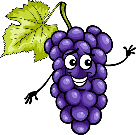 Cartoon Illustration of Funny Blue or Black Grapes Fruit Food Comic Character Vector