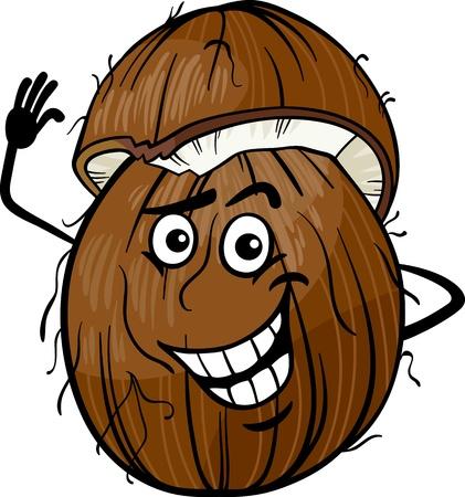 Ilustración de dibujos animados de Funny Coconut Fruit Food carácter cómico