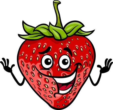 cartoon strawberry: Cartoon Illustration of Funny Strawberry Fruit Food Comic Character