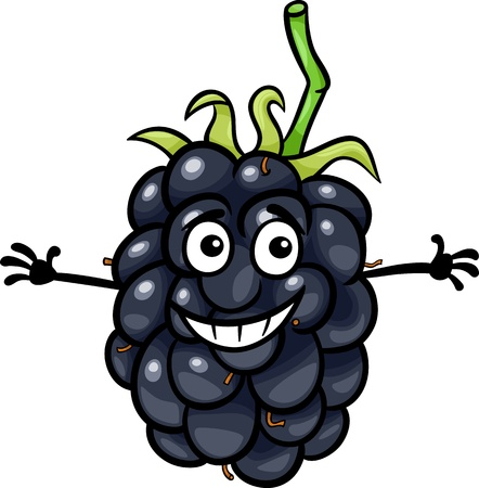 mure: Illustration de bande dessin�e dr�le de Blackberry fruits aliments caract�re comique