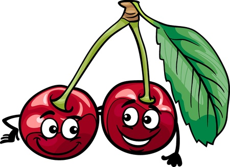 Cartoon Illustration of Funny Cherry Fruits Food Comic Character
