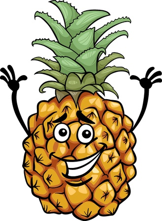 diet cartoon: Cartoon Illustration of Funny Pineapple Fruit Food Comic Character Illustration