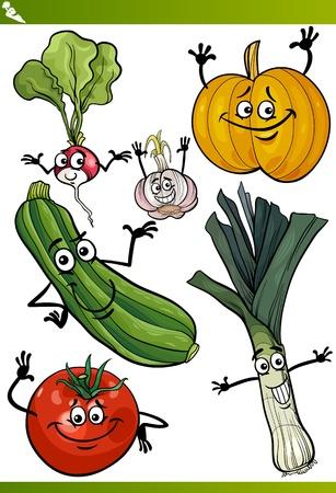 Cartoon Illustratie van groenten Comic Eten Characters Set Stockfoto - 20172028