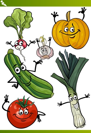 vegatables: Cartoon Illustration of Vegetables Comic Food Characters Set
