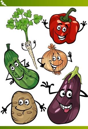 potato plant: Cartoon Illustration of Funny Vegetables Food Characters Set