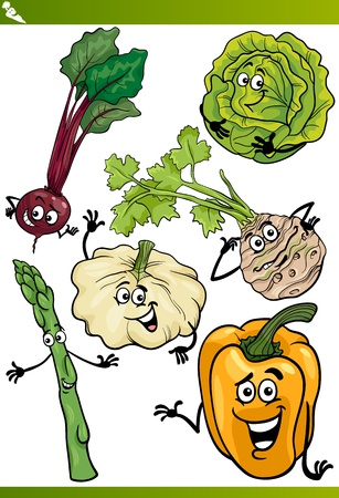 divertido: Ilustración de dibujos animados de verduras Happy Food Comic Characters Set Vectores