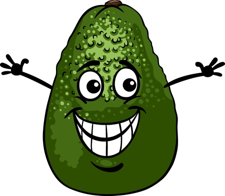 aguacate: Ilustración de dibujos animados de Funny Aguacate Frutas Alimentos carácter cómico