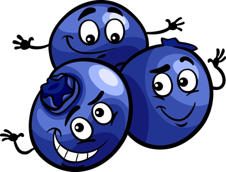 Cartoon Illustration of Funny Blueberry Berry Fruits Food Comic Character Ilustração