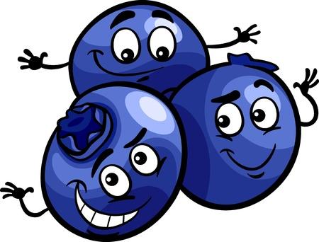 Cartoon Illustration von Funny Blueberry Berry Früchte Lebensmittel Comic-Charakter